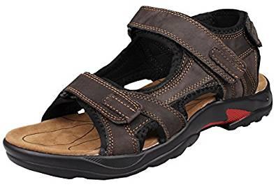 Kunsto Men's Leather Athletic Sport Sandal Shoes