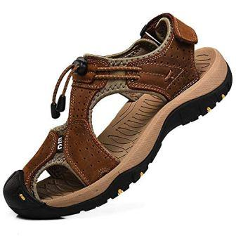 Rismart Men's Closed Toe Walking Fastening Trekking Sport Shoes Suede Leather Sandals