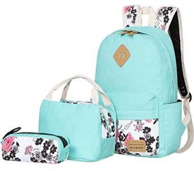 BLUBOON Teens Canvas Backpack set