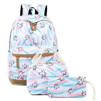 CAMTOP Teens Backpack – White/Unicorn design