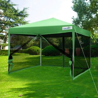 Quictent 10x10 Ez Pop up Screen Canopy Tent with Netting Screen House Mesh Side Wall
