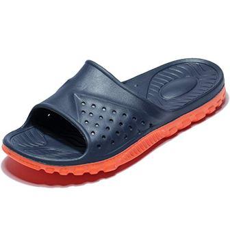 WODEBUY Men's Shower Sandals Anti-slip Fast Dry Flip Flop Flats Bathroom and Gym Slider Sandals for Men