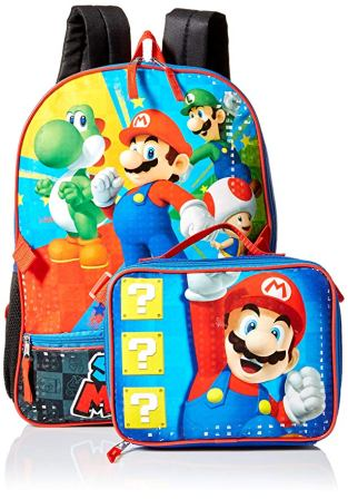 Nintendo Boys Mario Backpack with Lunch, Blue
