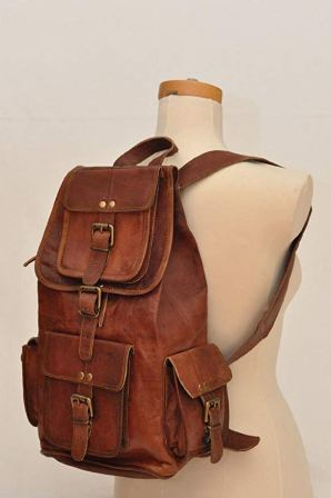 20″ Genuine Leather Retro Rucksack Backpack College Bag, School Picnic Bag Travel