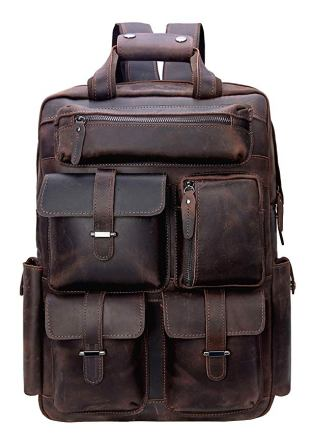 "Iswee Leather 16"" Laptop Backpack Vintage Travel Rucksack Overnight Weekender Bag School Daypack"
