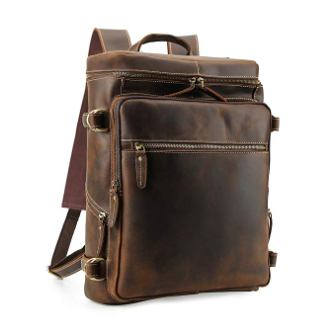 Men's Vintage Classic Leather Casual School Case Travel Weekender Outdoor Sports 15.6 Inch Laptop Suitcase Luggage Daypack Overnight Backpack Shoulder Bag