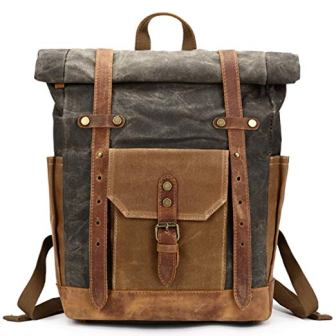 Mwatcher Waxed Canvas Leather College Weekend Travel Rucksack 15in Laptop Backpack