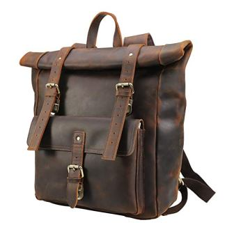 Polare Retro Full Grain Leather 17″ Laptop Backpack Travel Bag Large Capacity for Men
