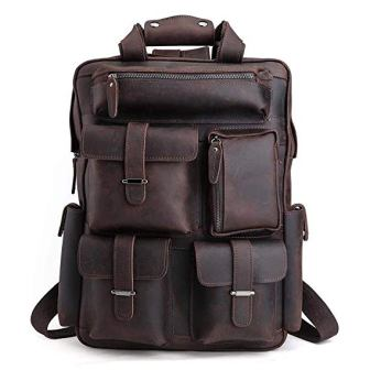 Tiding Mens Retro Full Grain Genuine Leather 17 Inch Laptop Backpack Multi Pockets Large Capacity Shoulder Bag Travel Bag Dark Brown