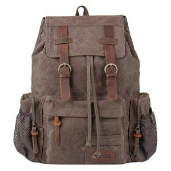 Travel Laptop Backpack, P.KU.VDSL Vintage Backpack Canvas Rucksack for Women Men, Retro School Bookbag