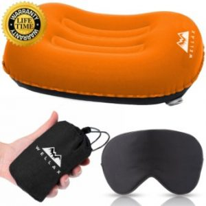 WELLAX Ultralight Camping Pillow – Compressible, Compact, Inflatable, Comfortable, Ergonomic Pillow for Neck & Lumbar Support