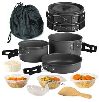 Portable Camping Cook Cooking Cookware Set Aluminium Anodisé pots casseroles Bouilloire