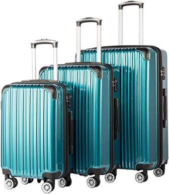 Coolife 3 Piece PC+ABS Spinner Suitcase