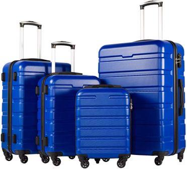 Coolife 3 Piece Set Suitcase Hardshell Lightweight
