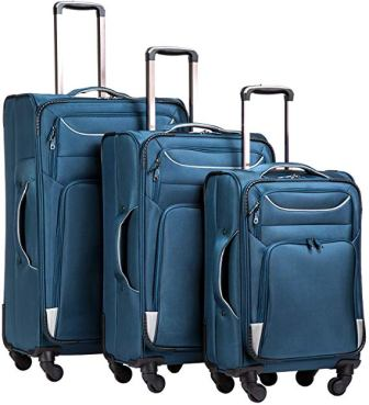 Coolife 3 Piece Set Suitcase (Soft-shell lightweight)