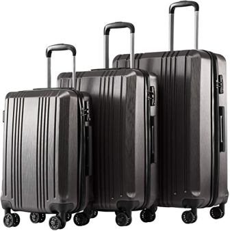 Coolife 3 Piece Sets PC+ABS Spinner TSA Luggage