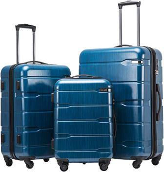 Coolife Expandable 3 Piece Sets PC+ABS Suitcase