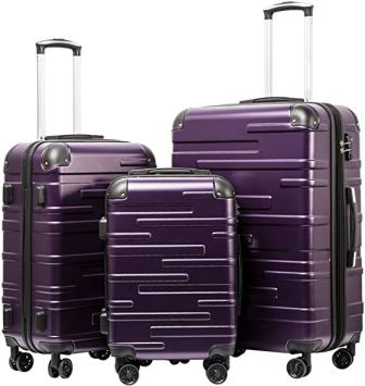 Coolife Luggage 3 Piece Expandable Set With TSA Lock Spinner Soft-shell