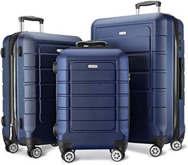 SHOWKOO PC+ABS Expandable Double Wheels Suitcase