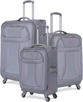 SwissGear 3-Piece Suitcase Set (Spinner Wheels, Softshell, and Lightweight)