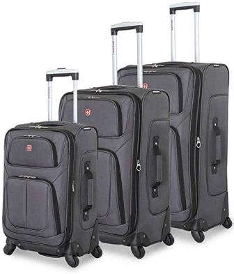 SwissGear 6283 Amazon Exclusive 3-pc Spinner Luggage Set with Dopp Kit Bundle