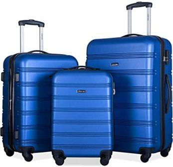 Merax 3-Pc Hardshell Spinner Luggage Set with Lock