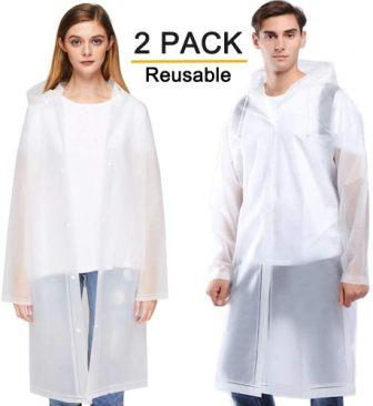 Rain Ponchos 2 Packs for Adults with Drawstring Hood and Sleeves