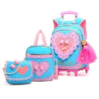 Meetbelify Girls Rolling Backpack