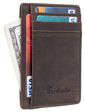 Travelambo Minimalist Leather Slim Wallet