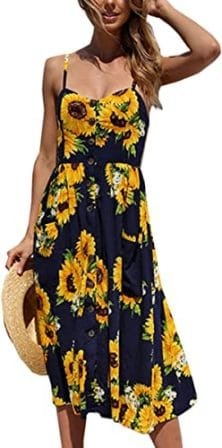 Angashion –Floral Bohemian Midi Dress