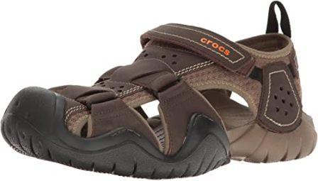 Crocs Men's Swiftwater Leather Fisherman Sandal